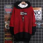 Lettering Hooded Two-tone Sweater