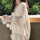 Long-sleeve Dotted Midi Dress / Knit Vest