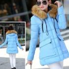 Furry-trim Hooded Puffer Coat