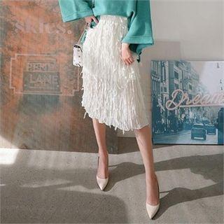 Tulle-overlay Textured H-line Midi Skirt