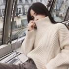 Plain Mock-neck Loose-fit Sweater