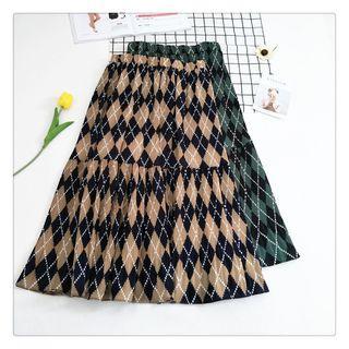 Argyle Patterned Midi Chiffon Skirt