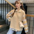 Plaid Shirt / Waffle Knit Vest