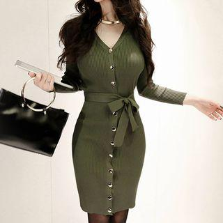 V-neck Long-sleeve Knit Sheath Dress Army Green - One Size