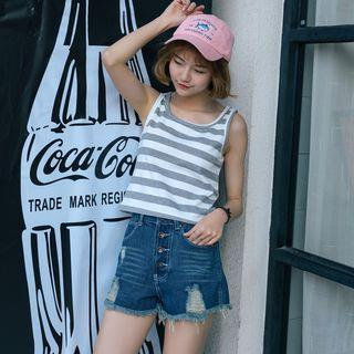 Cropped Striped Tank Top