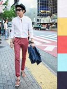 Mandarin-collar Tab-sleeve Shirt