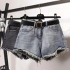 Frayed Washed Denim Hot Pants