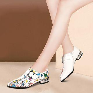 Faux Leather Printed Low-heel Oxford Shoes