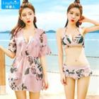 Set: Printed Elbow-sleeve Dress + Bikini