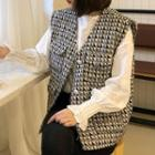 Lace Trim Long-sleeve Blouse / Button-up Patterned Tweed Vest