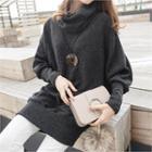 Cowl-neck Dolman-sleeve Long Knit Top