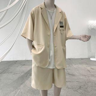 Short-sleeve Applique Button-up Blazer
