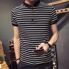 Striped Contrast-trim Polo Shirt