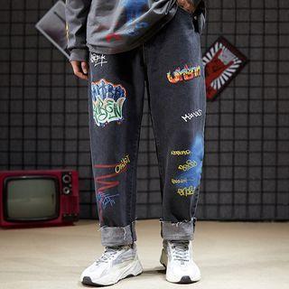 Graffiti Print Wide-leg Jeans