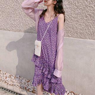 Floral Strappy Midi Chiffon Dress Purple - One Size