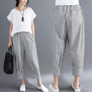 Pinstriped Cropped Loose Fit Pants