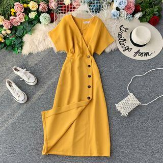 V-neck Short-sleeve Slim-cut Dress