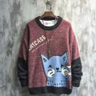 Cartoon Cat Print Sweater