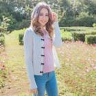 Beaded Bow Accented Knit Cardigan