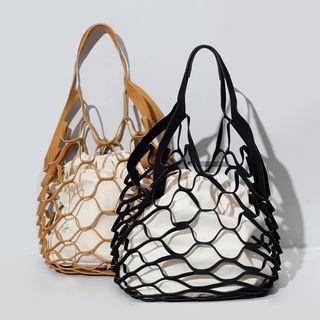 Faux-suede Cutout Canvas Handbag