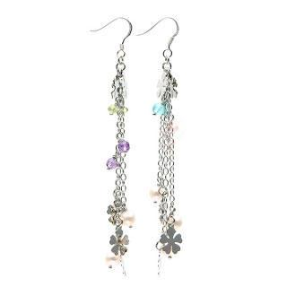 Semi-precious Gems & Flower Disc Dangly Earrings