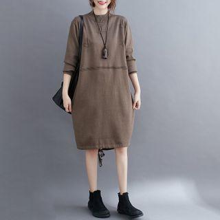 Long-sleeve Drawstring-hem Knit Midi Dress