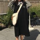 Check Shirt / Sleeveless A-line Midi Dress