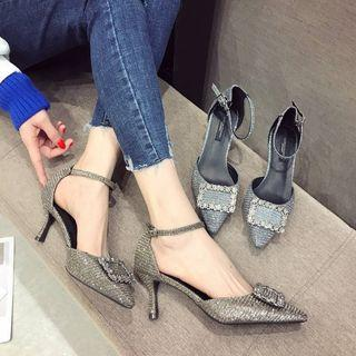 Ankle Strap Rhinestone Pointed Pumps