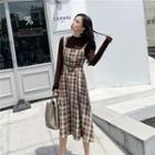 Long-sleeve Top / Sleeveless Plaid Dress