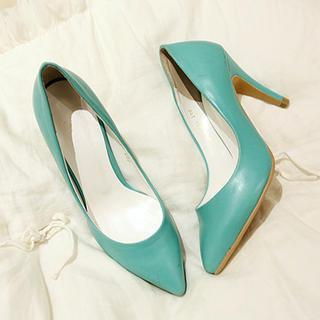 Faux-leather Pointy Pumps
