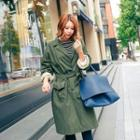 Single-breasted Long Trench Coat With Sash