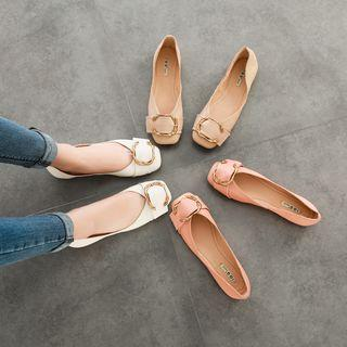 Genuine Leather Buckled Ballet Flats