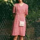 Elbow-sleeve Plaid Buttoned Dress