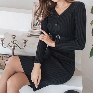 Knit Long-sleeve Buttoned Sheath Dress
