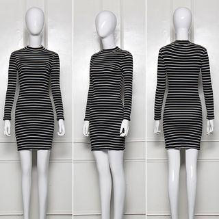 Long-sleeve Striped Mini Bodycon Dress