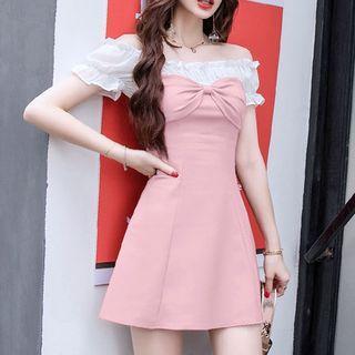 Off-shoulder Bow A-line Dress