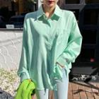 Pocket-front Stripe Shirt Green - One Size