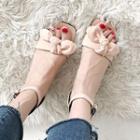 Block-heel Plaid Sandals