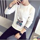 Cat Print Applique Pullover