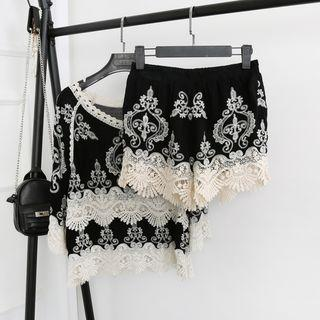 3/4-sleeve Lace Panel Top / Embroidered Shorts