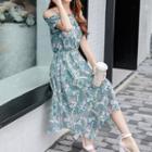 Off-shoulder Floral Midi Chiffon Dress