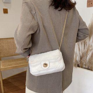 Furry Push Lock Crossbody Bag