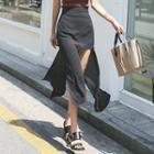 Cutout-front Chiffon Long Skirt