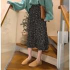 Dotted Print Ruched Skirt