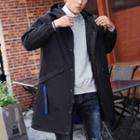 Lettering Hooded Long Padded Jacket