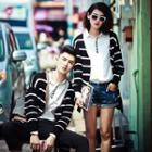 Striped Couple Matching Knit Cardigan