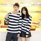 Long-sleeve Striped Couple T-shirt