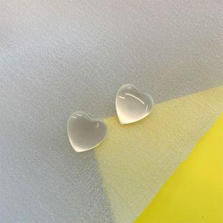 Heart Resin Earring 1 Pair - White - One Size