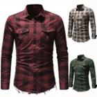 Long-sleeve Plaid Distressed Shirt