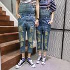 Distressed Cropped Couple Suspender Jeans
